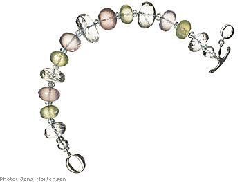 Prehnite, aquamarine, and rose quartz