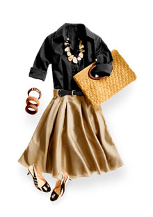 Thomas Pink Black shirt and khaki skirt by Ralph Lauren and women purse by Hobo international and Graziano and Ben Amun cuffs and Anne Klein zebra print shoes