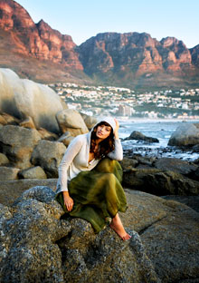Model on cliffs in Cape Town